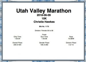 2018 Utah Valley 10k certificate