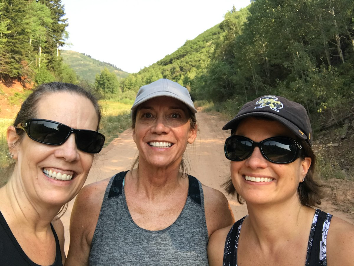 Three women hiking