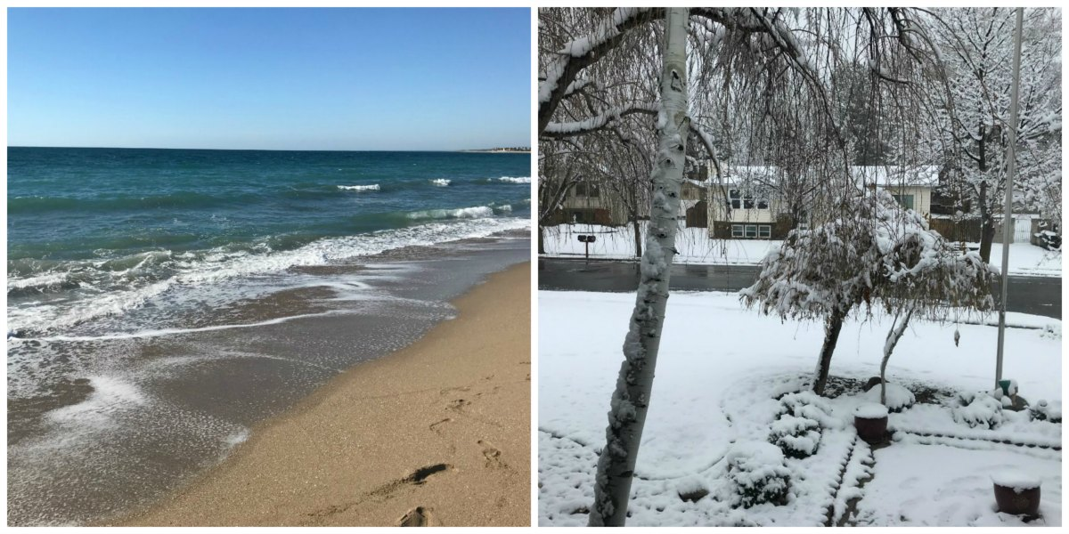 Beach and snow collage