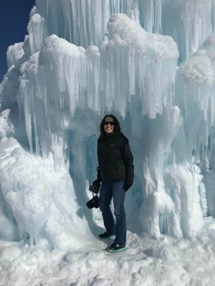 Woman in ice castle
