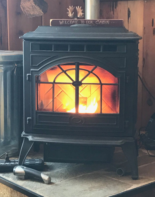 A fire in the pellet stove.