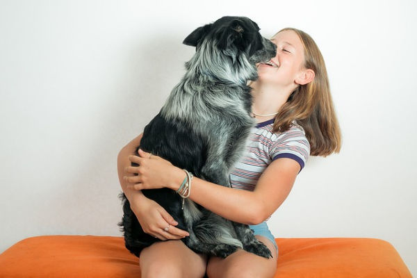 Girl holding a dog